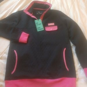 Simply Southern Navy w/pink trim  pullover nwt